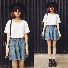 casual, acid denim skirt, white tee