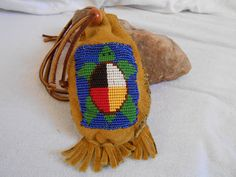 Hand Beaded Medicine Bag, Sacred Medicine Wheel Turtle Design, Hand Sewn Traditional Native American by Oglala Lakota Artisan on Etsy, $49.32 CAD