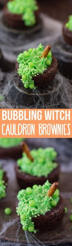 We love making these bubbling witch's cauldron brownies for our halloween part. We love making these bubbling witch's cauldron brownies for our halloween party each year! This is an easy halloween treat for kids to help with! Spooky Halloween, Halloween Treats For Kids, Fete Halloween, Halloween Goodies, Holiday Treats, Halloween Ideas, Halloween Crafts, Fall Treats, Halloween Decorations