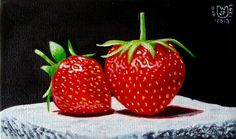 """Daily Paintworks - """"2 strawberries on white stone"""" - Original Fine Art for Sale - © Jean-Pierre Walter"""