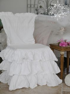 You can find these ruffle chair slips on the website...
