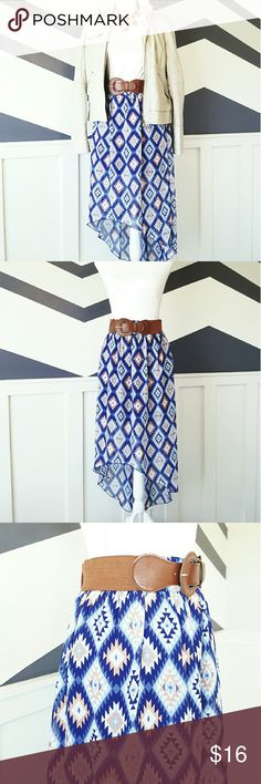 Aztec Skirt This Aztec skirt is made out of 100 percent polyester. It's shorter in the front and extends linger in the back. The outer patern is a see through material with a dark blue short liner skirt underneath. The belt is sewn into the skirt. Skirt had never been worn. Size is a Large 11/13. Happy Poshing!!! Skirts High Low