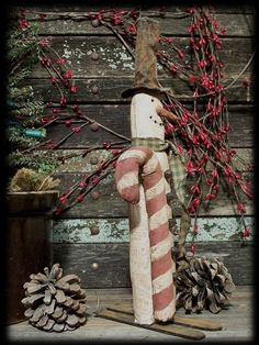 Primitive Christmas Skinny Skiing Snowman by rockriverstitches, $7.50