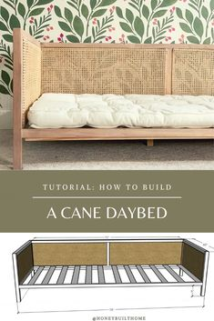 Wood Daybed, Diy Daybed, Diy Sofa, Diy Headboards, Diy Bed Headboard, Full Daybed, Diy Bed Frame, Pallet Bed Frames, Diy Furniture Projects