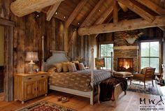 barn wood wall and ceiling; log truss, reclaimed wood floor
