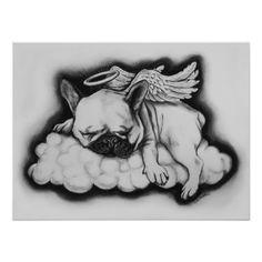 """Nice"" - French Bulldog Angel Drawing Poster"