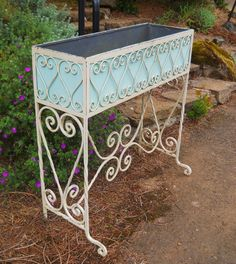 Antique Vintage 1870s-1900s Southern French Country Victorian Arts & Crafts Porch Hammered Ornate Wrought Iron Garden Porch Planter Stand