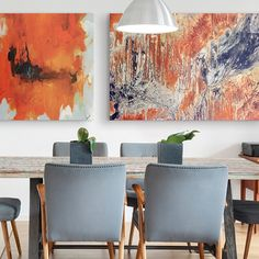 Take your dining room decor to outer space with a combination of orange and blue wall art. Combine an abstract art piece with a photographic print for a custom and modern decor feel that is sure to wow!