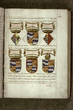 """Heraldic details from a 17th century French manuscript, """"Recueil des antiquités de la ville de Valenciennes"""", volume 2"""