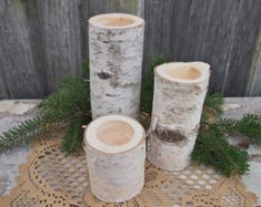 3 WHITE BIRCH Wood Candle Holders - Simple Natural Wedding Decor