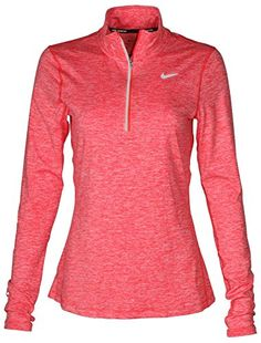 3de7b459 Nike Women's Dri-Fit Element Zip Running ShirtAuthentic NikeDri-FIT  Technology helps keep you dry and comfortableThumbholes at cuffs for warmth  and enhanced ...