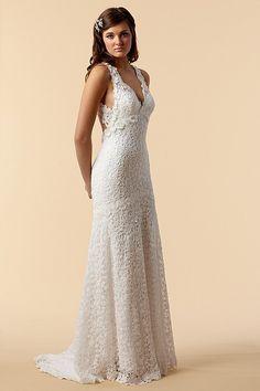 Wedding Dresses White Cotton V-Neckline Sleeveless Floor-Length Sheath (S H 000150) $259