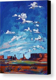 Monument Sky Canvas Print by Erin Hanson. All canvas prints are professionally printed, assembled, and shipped within 3 - 4 business days and delivered ready-to-hang on your wall. Choose from multiple print sizes, border colors, and canvas materials.