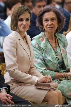 Queen Letizia of Spain and Queen Sofia of Spain attended 'Royal Trust Disability Reina Sofia 2014 Awards' at El Pardo Palace on April 29, 2015 in Madrid, Spain