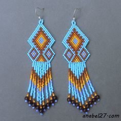Driving ethno-beaded earrings   - Plans for beading / Free bead patterns -