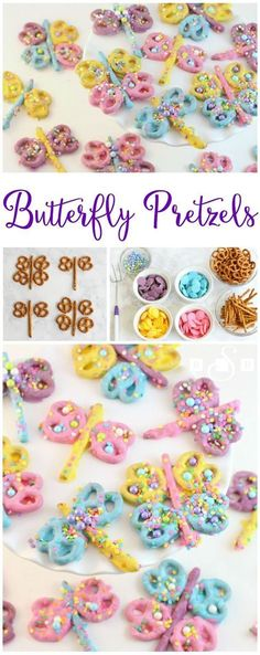 Butterfly Pretzels - Dragonfly Pretzels - Butter With A Side of Bread Super cute & so fun to make, you'll love dipping pretzels to make these colorful butterflies and dragonflies! Butterfly Pretzels will be your favorite treat! Butterfly Birthday Party, Tea Party Birthday, Birthday Cupcakes, Tea Party Cupcakes, Birthday Kids, Deco Cupcake, Cupcake Toppers, Easter Treats, Easter Food
