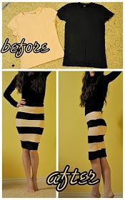 DIY stripped dress, from old t-shirts. Via cotton & curls