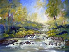 'Below Amicalola Falls' Fine Art painting (oils on canvas) by Sally Simon. Beautiful and peaceful looking.