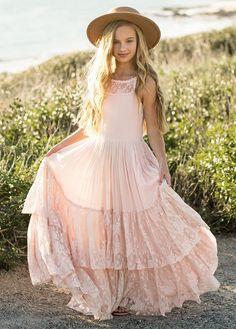 Girls Maxi Dresses, Cute Girl Dresses, Little Girl Dresses, Fall Dresses, Fashion Dresses, Cute Outfits, Flower Girl Outfits, Bohemian Flower Girl Dress, Boho Dress