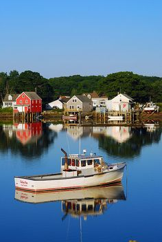 Early morning is calm in Cape Porpoise, Maine. Cape Porpoise is a small coastal village in the town of Kennebunkport, and was the original English settlement of the town. It is northeast of Dock Square and southwest of Goose Rocks Beach. Maine New England, Rhode Island, Vermont, The Places Youll Go, Places To Visit, Fishing Villages, New Hampshire, Fishing Boats, Travel Usa