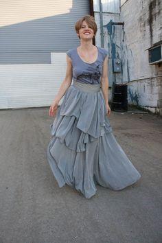 Tri Layered Grey Chiffon Maxi Skirt. $110.00, via Etsy.