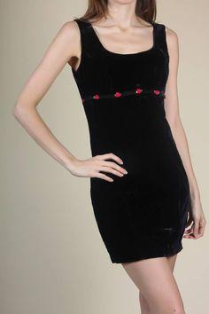21de0f53d8 90s Velvet Rose Dress - Small