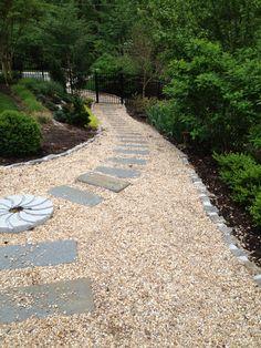 Bluestone and gravel path. Millstone provides transition.