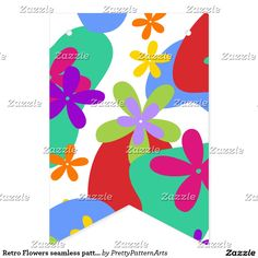 Retro Flowers seamless pattern colored Bunting Flags