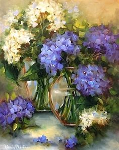 Two of a Kind Blue Hydrangeas by Texas Flower Artist Nancy Medina, painting by artist Nancy Medina