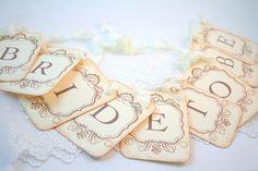 Bride to Be Banner Garland Sign Vintage Inspired Bridal Shower Decoration