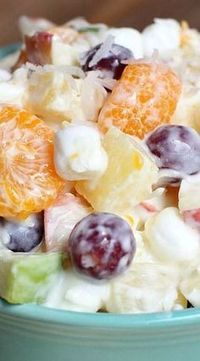 "Creamy Fruit Salad ~ This is one of the tastiest fruit salads you've ever tried, as it features with pineapples, mandarins, apples, grapes, marshmallows, and creamy ""dressing"" made of Greek yoghurt and lemon juice."