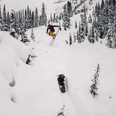 """#GoPro Featured Photographer: @chrisbenchetler  About the shot: While shooting episode two of Chasing El Nino, """"Always Cloudy in BC"""" we saw that the snowmobile track was ripe. I'm jumping, with my boy @_SmithMade_ sitting on the snowmobile!  How I got the shot: Teamwork makes the dream work! My guy @Skichef had the #GoPro set to Burst Mode 30/3. He set the shot up with a painter pole and stationary camera so I could get the same height as my jump."""