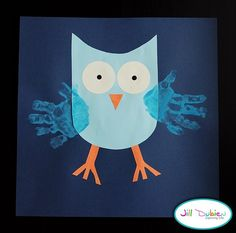 Cutout the owl Body, Eyes, and Legs, then have the kids use their handprints with paint for the wings.