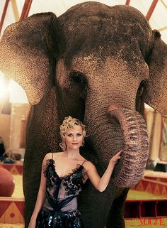 Reese Witherspoon inside Vogue with her Water For Elephants costar Tai thevelephant
