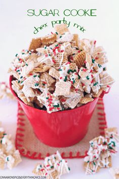 Sugar Cookie Chex Party Mix Sweet, crunchy and festive this is the perfect snack for the holidays and makes a great hostess gift too! Kids and adults alike love it. Christmas Party Snacks, Christmas Cookies, Christmas Chex Mix, Christmas Recipes, Christmas Candy, Holiday Recipes, Holiday Ideas, Christmas Deserts, Christmas Lunch