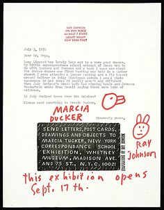 Ray JOhnson, N.Y. Letter to Lucy R. Lippard
