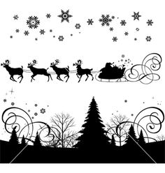 Santas sleigh vector on VectorStock