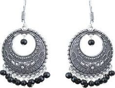 Waama Jewels Black Party Wear Wear for Women hippie Pearl Brass Chandelier Earring