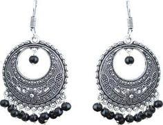 Waama Jewels Black Party Wear Wear for Women hippie Pearl Brass Chandelier Earring