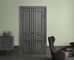 Colori Interni Grigio : Camera da letto interni in colore grigio con letto in legno