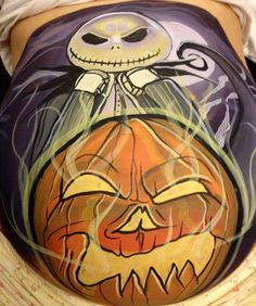 Jack the Halloween king from nightmare before Christmas belly painting at 33 weeks pregnant