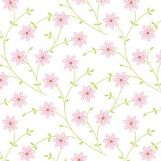 Daisy vine pink white fabric by jillbyers on Spoonflower - custom fabric