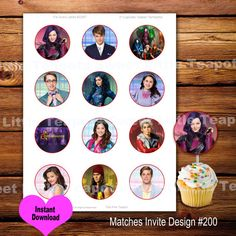 Descendants Cupcake Toppers,Cupcake Toppers,Descendants,Digital Cupcake Topper,Mal,Jay,Evie,Carlos,SLT200
