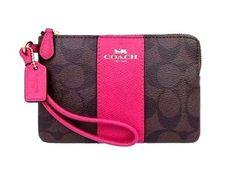COACH Corner Zip Wristlet Wallet Signature C Leather PVC 54629 Pink Ruby Brown  #Coach #Wristlet