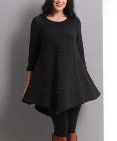 Look what I found on #zulily! Black Knit Ribbed Handkerchief Tunic - Plus #zulilyfinds