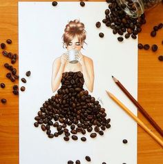 Fashion Drawing Dresses Artists Ideas For 2020 Diy And Crafts, Arts And Crafts, Paper Crafts, Coffee Bean Art, Coffee Beans, Art Sketches, Art Drawings, Arte Fashion, Creation Art