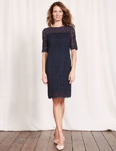 #Boden Poppy Lace Dress Navy Women Boden, Navy 36174910 #Hurry up sunshine, weve got a lacy dress we want to wear. The floral lace fabric and delicate trim add a flirty edge, and its partially lined to show a hint of skin. Elbow-length sleeves are flattering (and long enough to hide any dodgy tan lines).