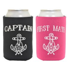 d4c7b52e6a3cd Funny Can Coolie Black Captain and Magenta First Mate Nautical Sailing 2 Pack  Can Coolies
