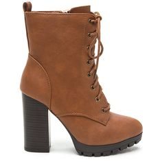 Cool Combat Lace-Up Lug Booties ($18) ❤ liked on Polyvore featuring shoes, boots, ankle booties, ankle boots, brown, short brown boots, lace up ankle boots, brown combat boots, brown booties and ankle combat boots