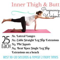 Inner thighs and butt pregnancy workout.  Home workouts for every trimester.  no gym required.